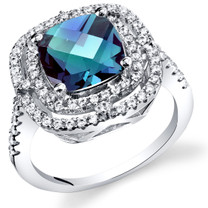 Simulated Alexandrite Cushion Cut Cocktail Ring Sterling Silver 3.00 Carats Sizes 5 to 9 SR11432