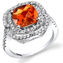 Created Padparadscha Sapphire Cushion Cut Cocktail Ring Sterling Silver 3.00 Carats Sizes 5 to 9 SR11434