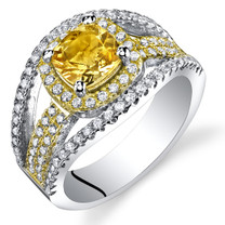 Citrine Cushion Cut Pave Gold Tone Ring Sterling Silver 0.75 Carats Sizes 5 to 9 SR11458