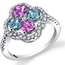 Created Pink Sapphire and Swiss Blue Topaz Clover Ring Sterling Silver Sizes 5 to 9 SR11464