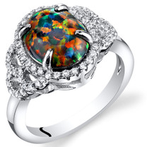 Created Black Opal Cocktail Ring Sterling Silver 1.25 Carats Sizes 5 to 9 SR11478