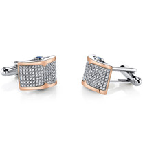 Sterling Silver Mens Rose Tone Cufflinks with Micropave Cubic Zirconia