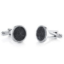 Sterling Silver Mens Black and White CZ Cocentric Cufflinks