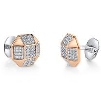 Sterling Silver Mens Rose Tone Octagon CZ Cufflinks