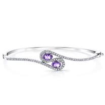 Amethyst Infinity Bangle Bracelet Sterling Silver Oval Shape 1 Carats SB4394