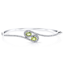 Peridot Infinity Bangle Bracelet Sterling Silver Oval Shape 1 Carats SB4396