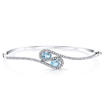 Swiss Blue Topaz Infinity Bangle Bracelet Sterling Silver Oval Shape 1 Carats SB4398