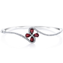 Garnet Petal Bangle Bracelet Sterling Silver Tear Drop 2 Carats SB4400