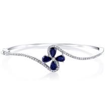 Created Blue Sapphire Petal Bangle Bracelet Sterling Silver Tear Drop 2 Carats SB4404