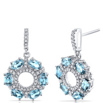 Swiss Blue Topaz Dahlia Drop Earrings Sterling Silver 3 Carats SE8568