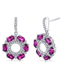 Created Ruby Dahlia Drop Earrings Sterling Silver 3 Carats SE8574