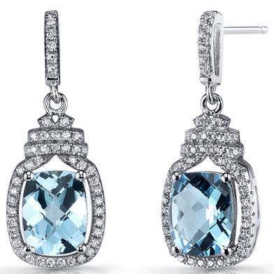 Swiss Blue Topaz Halo Crown Dangle Earrings Sterling Silver 4.5 Carats SE8578