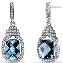 London Blue Topaz Halo Crown Dangle Earrings Sterling Silver 4.5 Carats SE8580