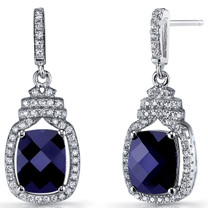 Created Blue Sapphire Halo Crown Dangle Earrings Sterling Silver 5.5 Carats SE8582