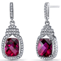 Created Ruby Halo Crown Dangle Earrings Sterling Silver 6 Carats SE8584