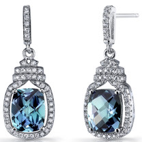 Simulated Alexandrite Halo Crown Dangle Earrings Sterling Silver 5.5 Carats SE8586