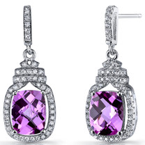 Created Pink Sapphire Halo Crown Dangle Earrings Sterling Silver 5.5 Carats SE8588