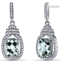 Green Amethyst Halo Crown Dangle Earrings Sterling Silver 3.5 Carats SE8592