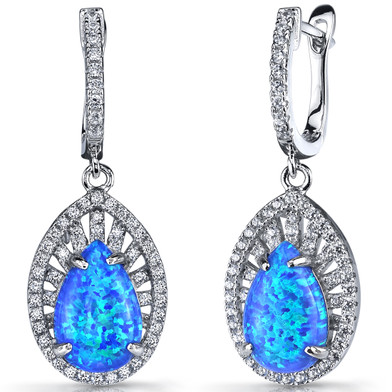 Created Blue Opal Nebula Drop Earrings Sterling Silver 3 Carats SE8594