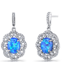 Created Blue Opal Victorian Drop Earrings Sterling Silver 3 Carats SE8598