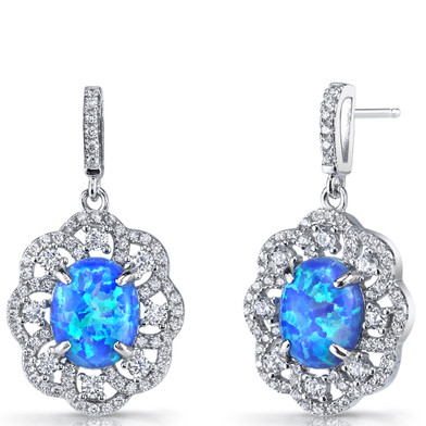 Created Blue Opal Victorian Drop Earrings Sterling Silver 3 Carats SE8598