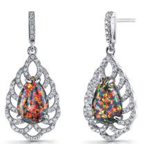 Created Black Opal Vintage Dangle Earrings Sterling Silver 4 Carats SE8600