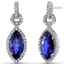 Created Blue Sapphire Marquise Dangle Drop Earrings Sterling Silver 4 Carats SE8602