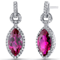 Created Ruby Marquise Dangle Drop Earrings Sterling Silver 4.5 Carats SE8604