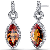 Created Padparadscha Sapphire Marquise Dangle Drop Earrings Sterling Silver 4.5 Carats SE8610