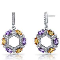 Amethyst and Citrine Hexagon Dangle Earrings Sterling Silver SE8612