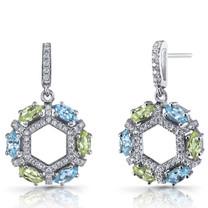 Swiss Blue Topaz and Peridot Hexagon Dangle Earrings Sterling Silver SE8614