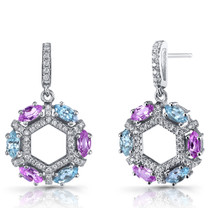 Created Pink Sapphire and Swiss Blue Topaz Hexagon Dangle Earrings Sterling Silver SE8616