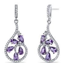 Amethyst Dewdrop Earrings Sterling Silver 2.5 Carats SE8620
