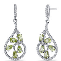 Peridot Dewdrop Earrings Sterling Silver 2.5 Carats SE8624