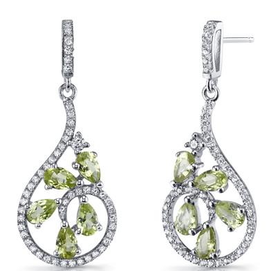 Peridot Dewdrop Earrings Sterling Silver 2.5 Carats SE8624