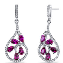 Created Ruby Dewdrop Earrings Sterling Silver 2.5 Carats SE8632