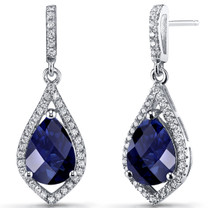 Created Blue Sapphire Tear Drop Dangle Earrings Sterling Silver 5 Carats SE8636
