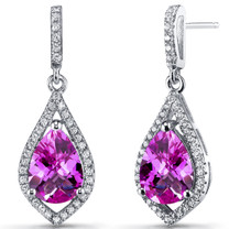 Created Pink Sapphire Tear Drop Dangle Earrings Sterling Silver 5 Carats SE8640