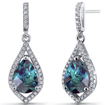 Simulated Alexandrite Tear Drop Dangle Earrings Sterling Silver 5 Carats SE8642