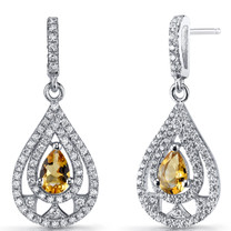 Citrine Chandelier Drop Earrings Sterling Silver 0.5 Carats SE8644