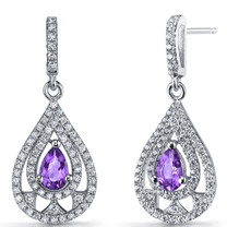 Amethyst Chandelier Drop Earrings Sterling Silver 0.5 Carats SE8646