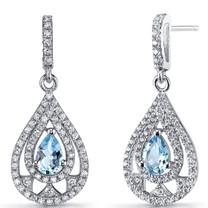 Swiss Blue Topaz Chandelier Drop Earrings Sterling Silver 1 Carats SE8652