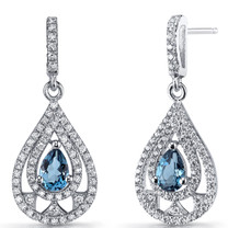 London Blue Topaz Chandelier Drop Earrings Sterling Silver 1 Carats SE8654
