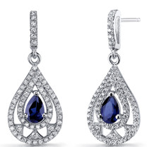 Created Blue Sapphire Chandelier Drop Earrings Sterling Silver 1 Carats SE8656