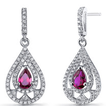Created Ruby Chandelier Drop Earrings Sterling Silver 1 Carats SE8658