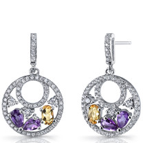 Amethyst and Citrine Sterling Silver Double Hoop Dangle Drop Earrings SE8660