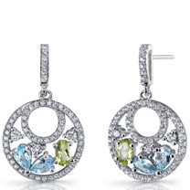 Swiss Blue Topaz and Peridot Sterling Silver Double Hoop Dangle Drop Earrings SE8662