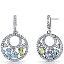 Swiss Blue Topaz and Peridot Sterling Silver Double Hoop Dangle Drop Earrings SE8662