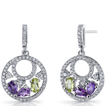 Amethyst and Peridot Sterling Silver Double Hoop Dangle Drop Earrings SE8666