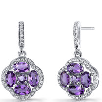 Amethyst Clover Dangle Drop Earrings Sterling Silver 2.25 Carats SE8668
